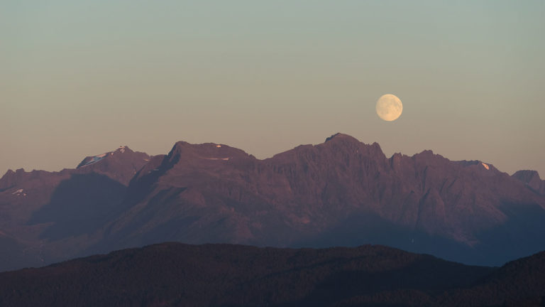 Alesund (Ålesund) Norway - Moonrise over Mountains near Borgundfjorden, as Seen from Mt. Aksla