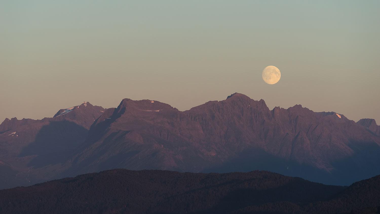 Alesund (Ålesund) Norway - Moonrise over Mountains near Borgundfjorden, as Seen from Mt. Aksla
