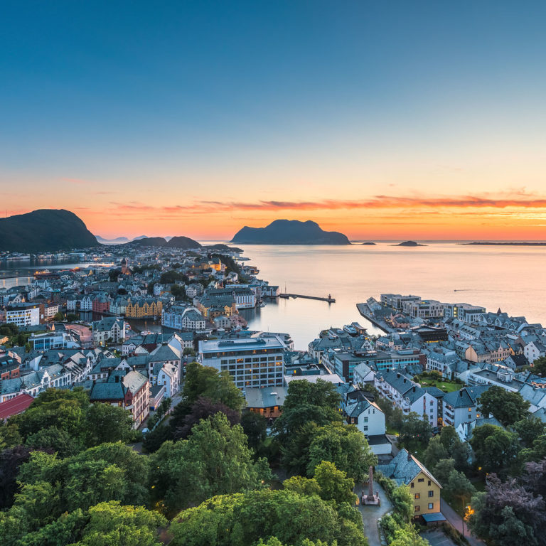Ålesund, Norway - Panorama of the Town at Sunset