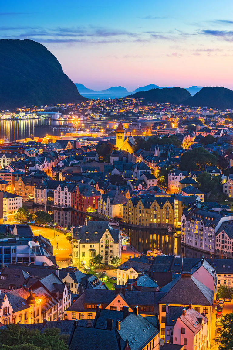 Ålesund, Norway - Evening Panorama of the Town