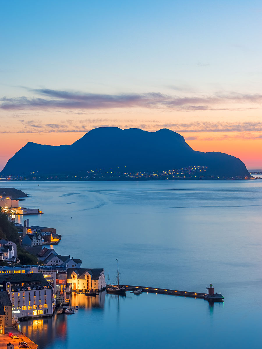 Ålesund Region, Norway - The Island of Godoy as seen from Aksla at Sunset