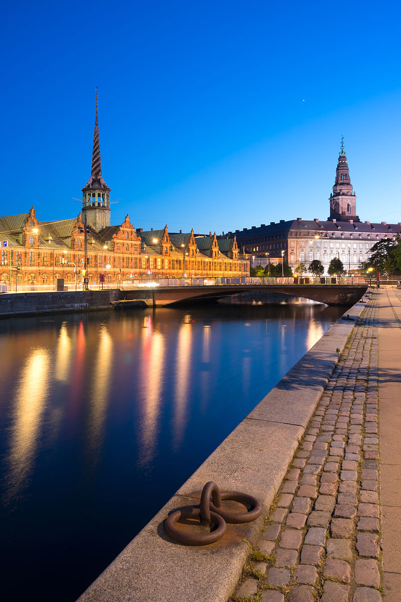 Copenhagen, Denmark - Skyline with the Stock Exchange (Børsen) and Christiansborg Palace