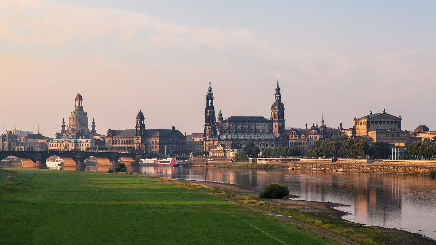 Panorama of the city Dresden in Germany featuring the Frauenkirche, Residenzschloss and Semperoper