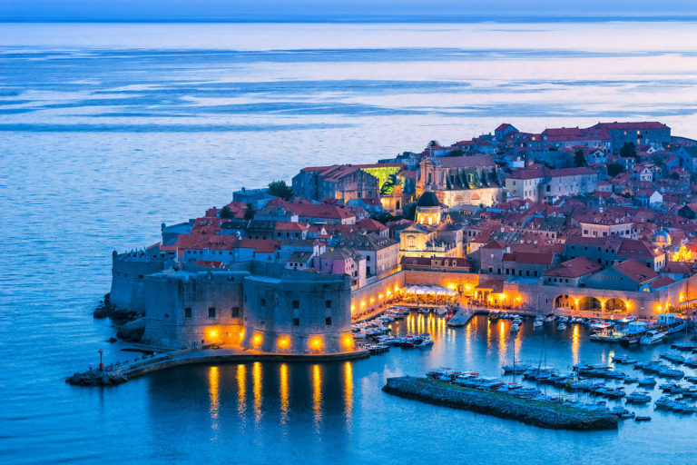 Dubrovnik, Croatia - Elevated View of the Old Town at Night