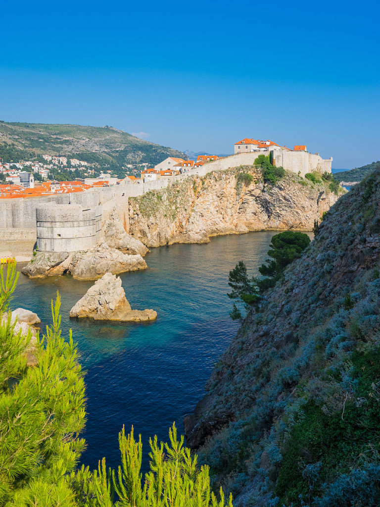 Dubrovnik, Croatia - Medieval City Walls as Seen from the Sea Side
