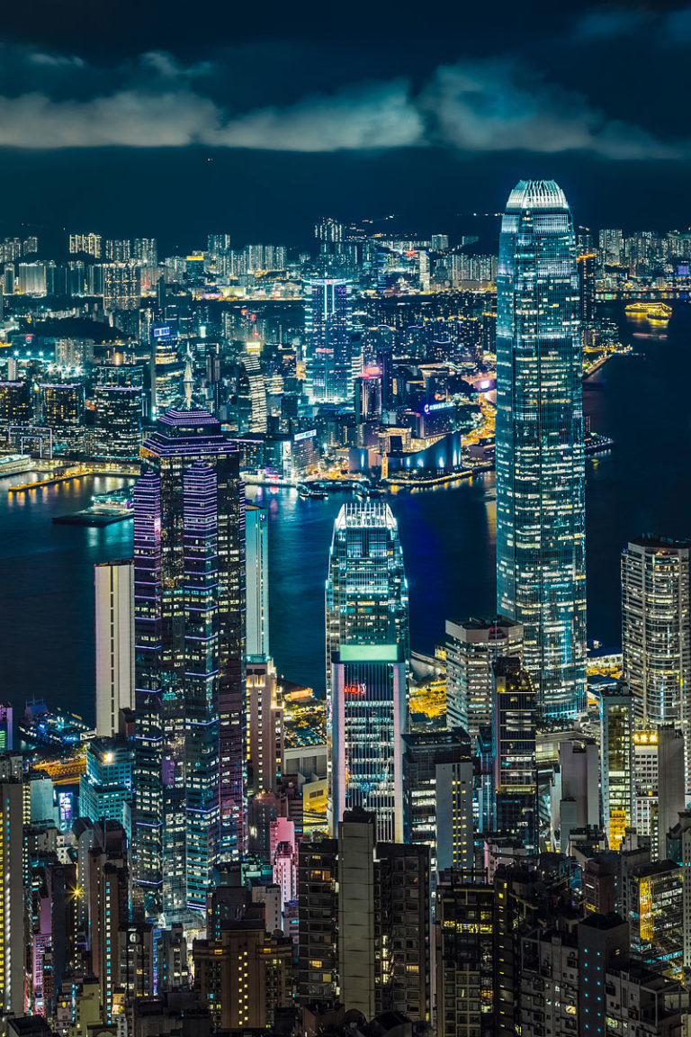 Nighttime View from Victoria Peak with the Skyscrapers of Hong Kong Island and the Lights of Kowloon