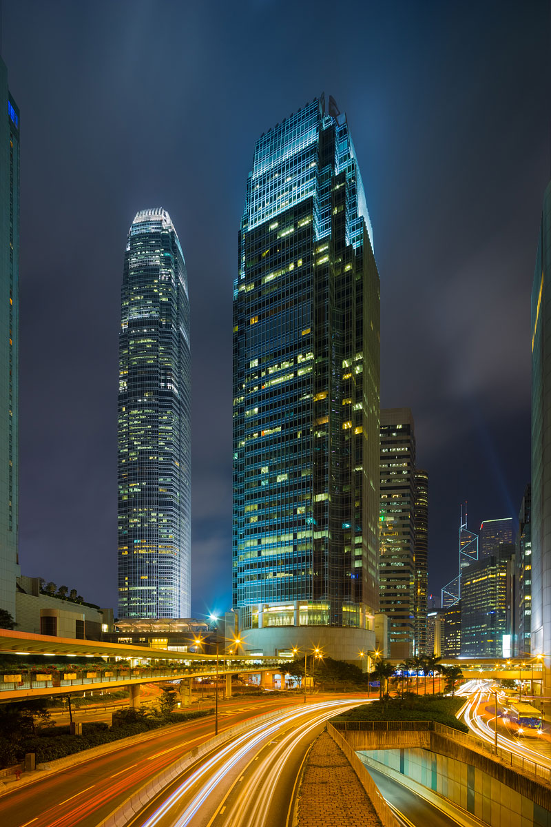 Hong Kong Cityscape - Skyscrapers and Light Trails