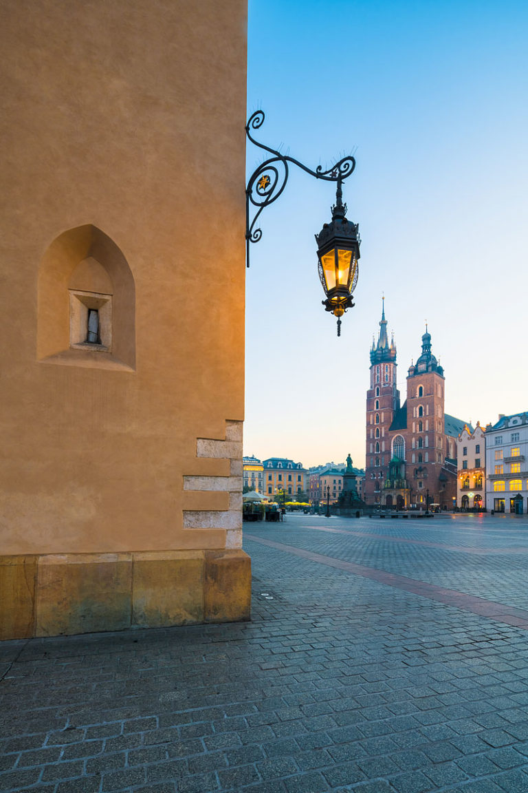 Cracow (Kraków), Poland - The Main Square with St Mary's Basilica at Dawn