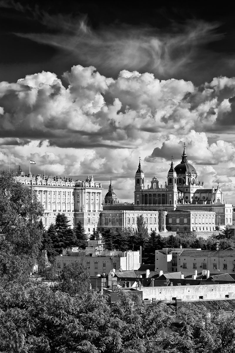 Madrid Skyline with the Almudena Cathedral and the Royal Palace, Spain