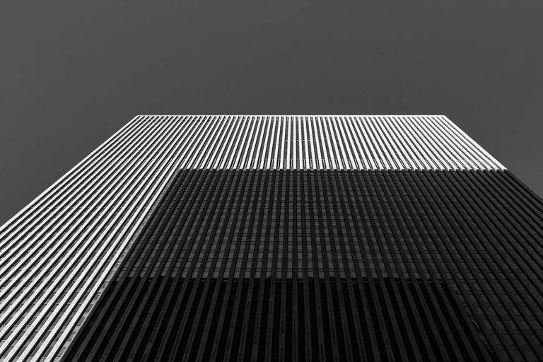 Upward view of a skyscraper in New York City.