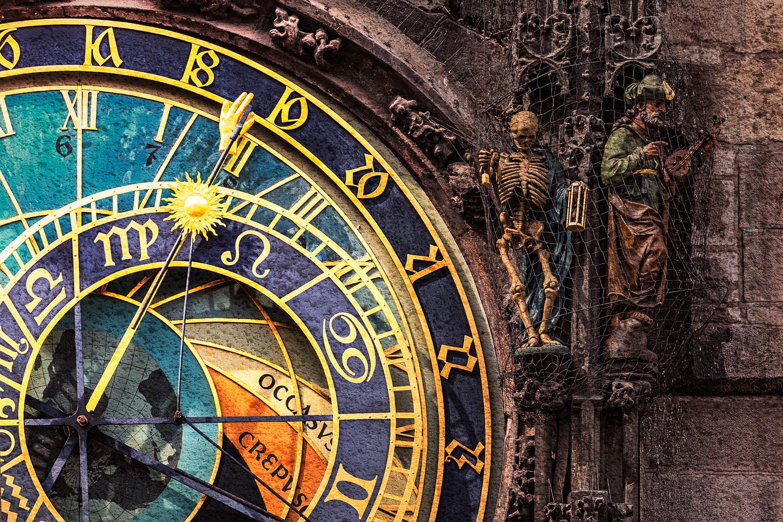Prague, Czechia - Detail of the Prague Astronomical Clock a.k.a. Orloj