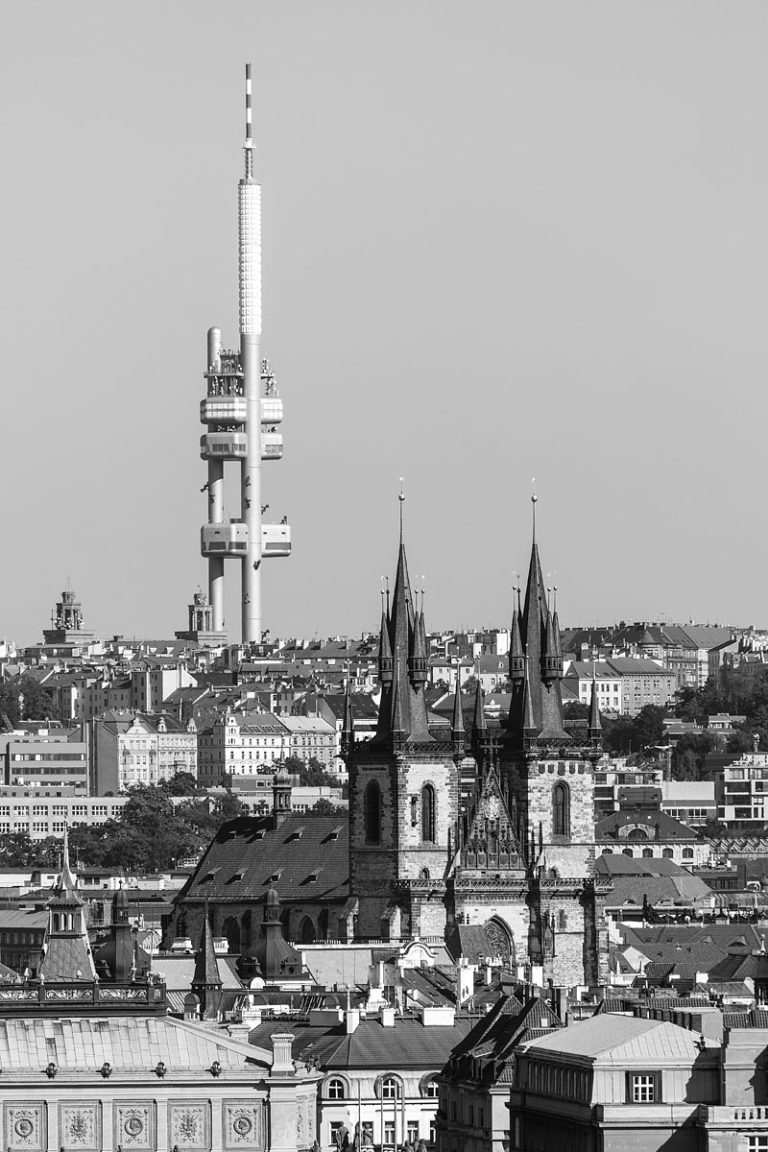 Black and White Cityscape of Prague with the Žižkov TV Tower