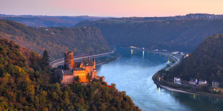 Loreley, Germany - The Rhine River and Katz Castle at Twilight