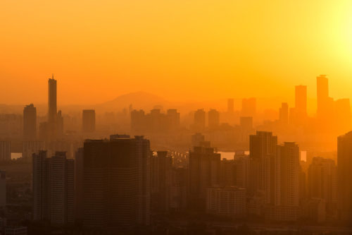 Sunset over Seoul, South Korea. View from Central Seoul towards Yeouido.