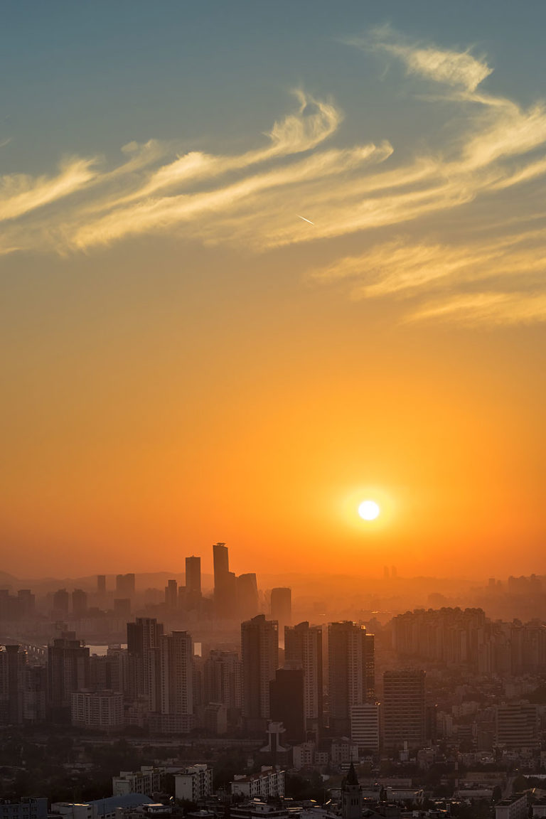 Sunset over Seoul Skyscrapers, South Korea.  View from Central Seoul towards Yeouido.