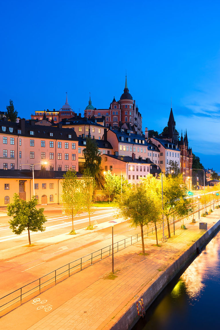 The Skyline of Södermalm District at the Blue Hour, Stockholm, Sweden