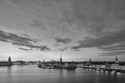 Stockholm, Sweden - Evening Panorama of the City in Black and White