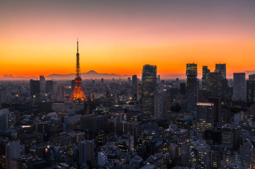 Tokyo Skyline featuring the Tokyo Tower and Mount Fuji