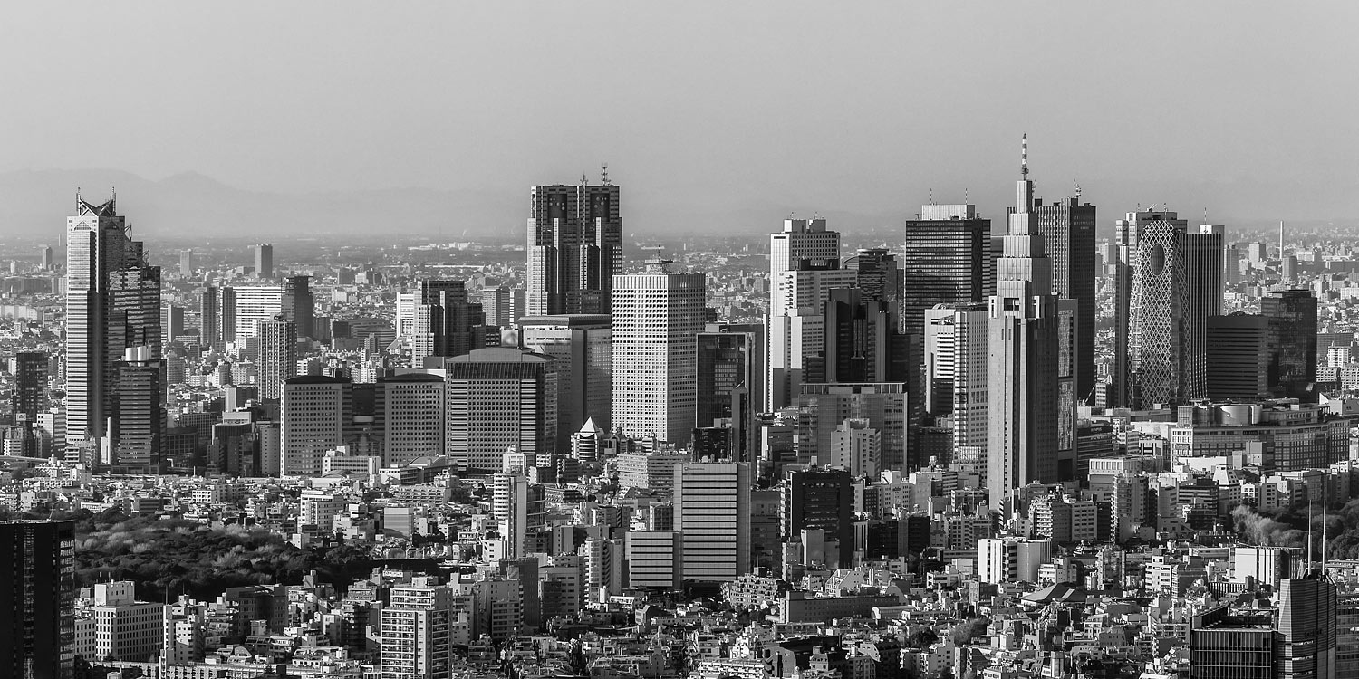 Panorama of Tokyo with Skyscrapers in Shinjuku Ward, Japan