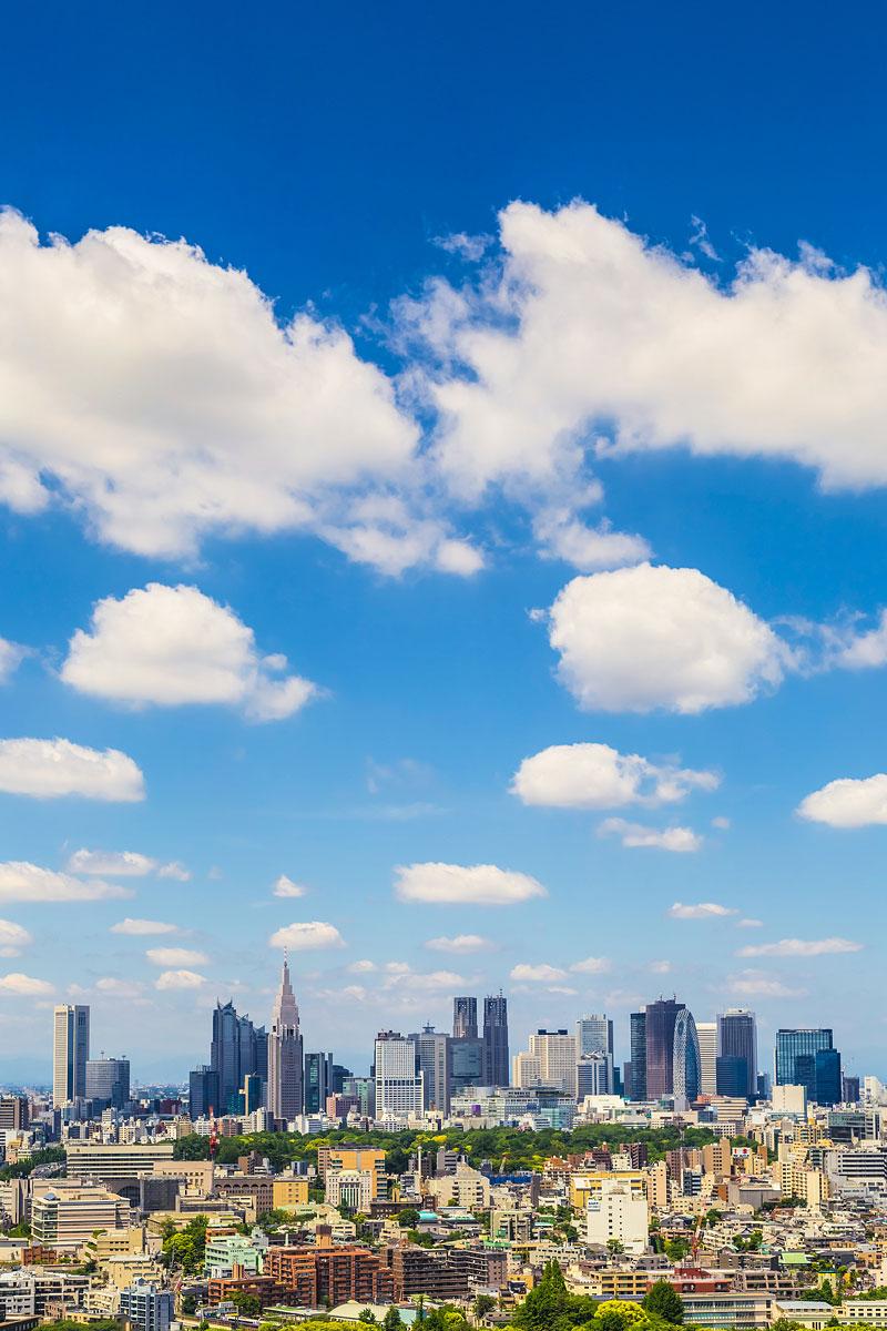 Blue Sky and Clouds over Shinjuku Skyline, Tokyo, Japan