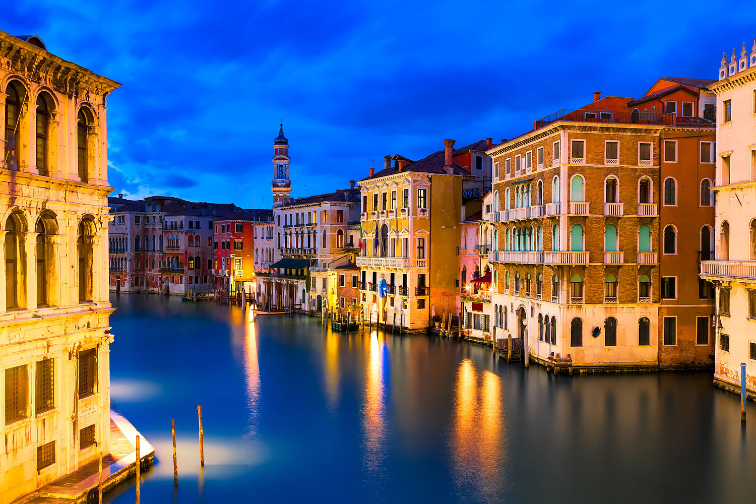 The Grand Canal in Venice, Italy in the evening