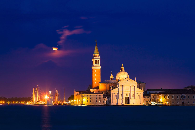 Venice, Italy - Moonrise over San Giorgio Maggiore Island