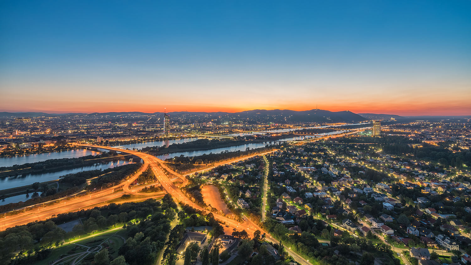 Vienna (Wien), Austria - Panorama of the City and the Danube River Shortly after Sunset