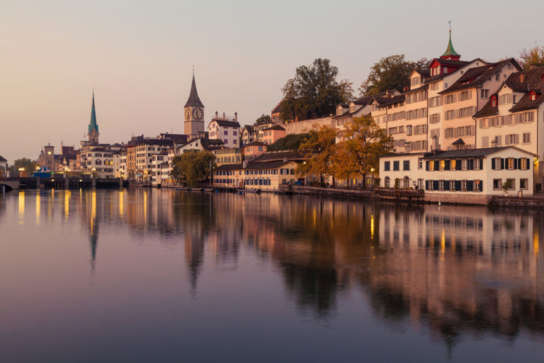 The River Limmat in Zürich at Dawn, Switzerland