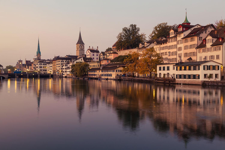 The River Limmat in Zürich at Dawn, Switzerland