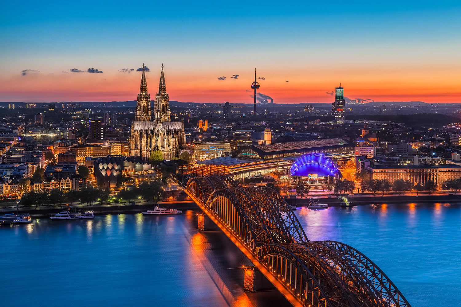 Cologne (Köln), Germany - Panorama of the City at Sunset
