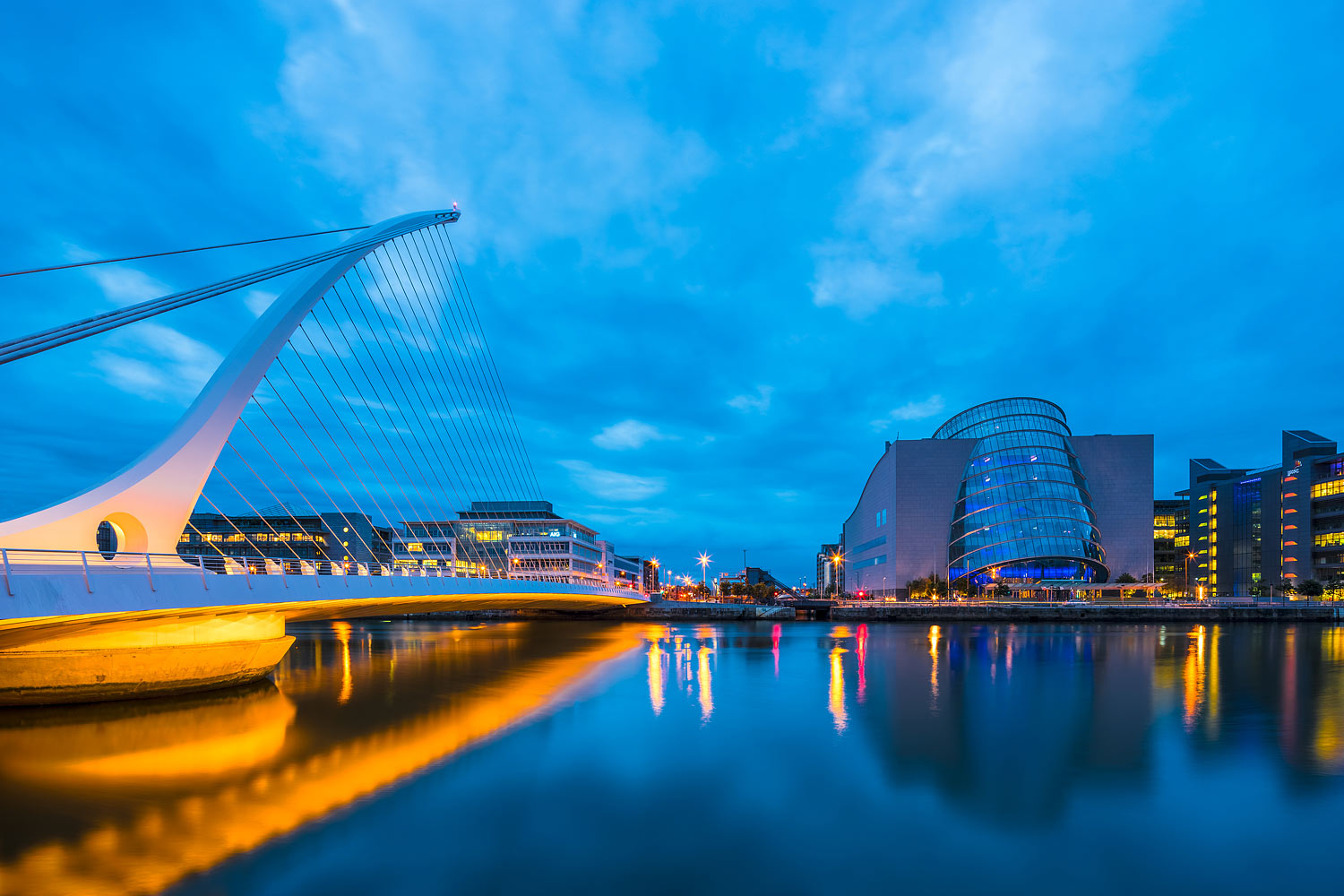 Dublin Skyline with the Samuel Beckett Bridge and the River Liffey, Ireland