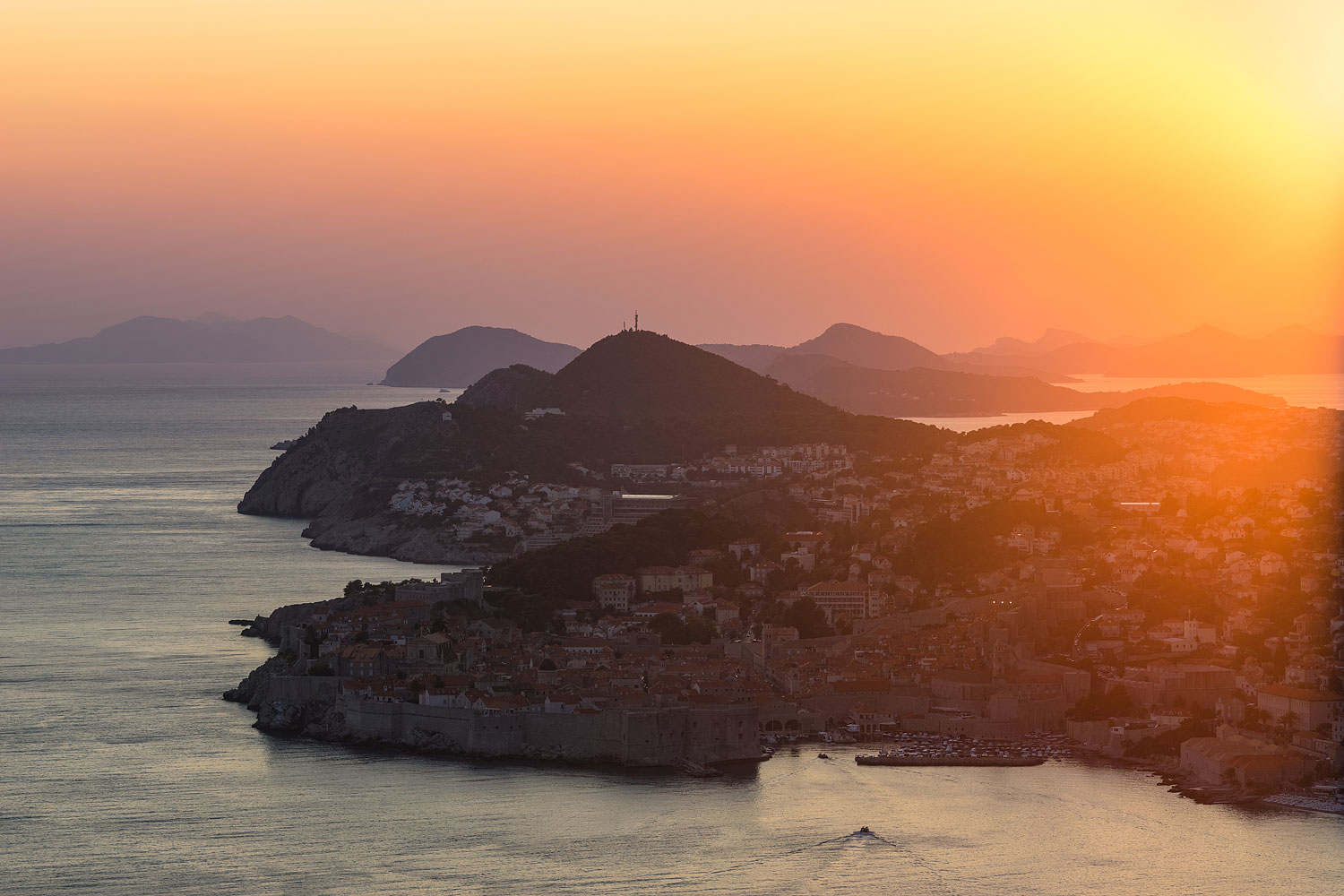 Elevated View of Dubrovnik at Sunset, Croatia.The walled city of Dubrovnik is a UNESCO World Heritage Site and one of Croatia's greatest tourist attractions.