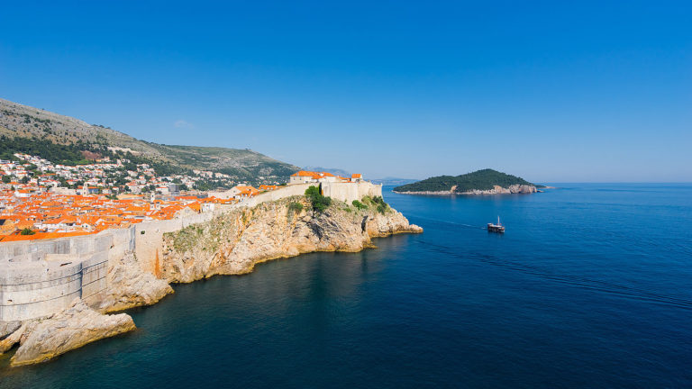 Dubrovnik and the Island of Lokrum on the Adriatic Coast, Croatia
