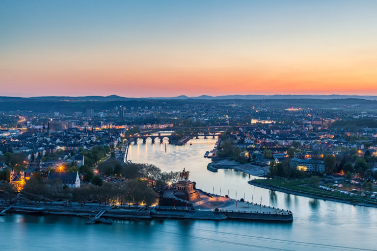 Koblenz, Germany - Panorama of the City at Sunset