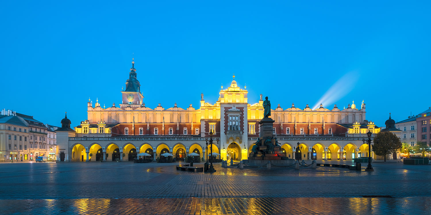 Cracow (Kraków), Poland - Main Square with the Cloth Hall (Sukiennice) at Night
