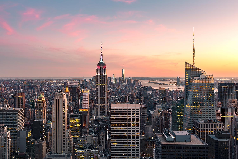 Panorama of New York City at Sunset