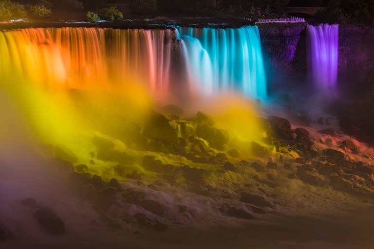 Niagara Falls - Illuminated American Falls and Bridal Veil Falls as Seen from the Canadian Side in the Evening