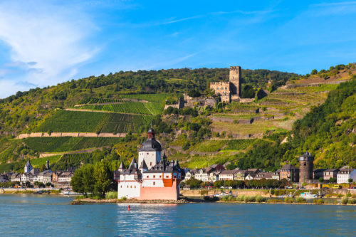 Kaub, Germany - Pfalzgrafenstein Castle and Gutenfels Castle in the Upper Middle Rhine Valley. UNESCO World Heritage Site.