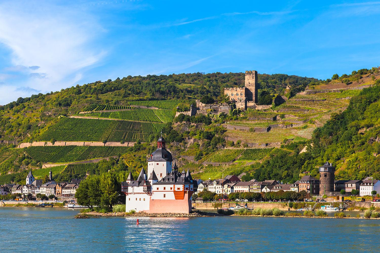 Kaub, Germany - Pfalzgrafenstein Castle and Gutenfels Castle in the Upper Middle Rhine Valley. UNESCO World Heritage Site.