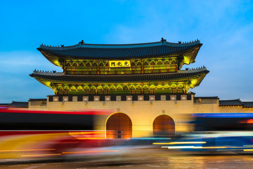 Seoul, South Korea - Evening Traffic in Front of Gwanghwamun (Long Exposure).Gwanghwamun (Korean: 광화문) is the main gate of Gyeongbokgung Palace (경복궁), in downtown Seoul.