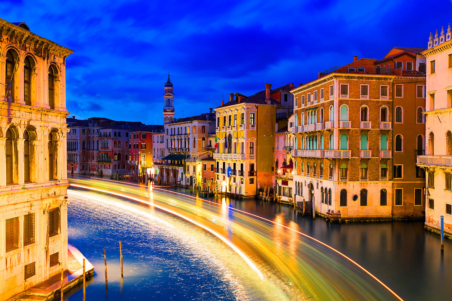 The Grand Canal in Venice with Light Trails of a Vaporetto Vessel, Italy