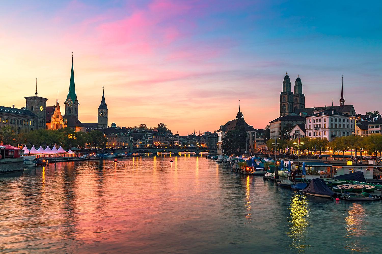 Zurich Skyline at Sunset, Switzerland