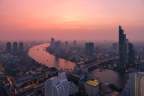 Evening Panorama of Bangkok with the Chao Phraya River