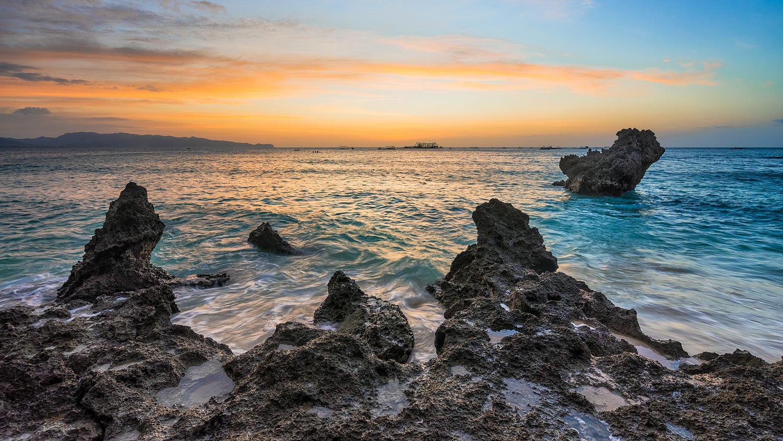 Sunset on Boracay Island in the Philippines