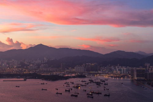 Beautiful Sunset Sky over Victoria Harbour in Hong Kong