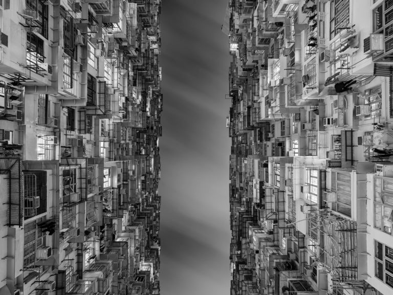 Upward Perspective of an Apartment Building in Hong Kong