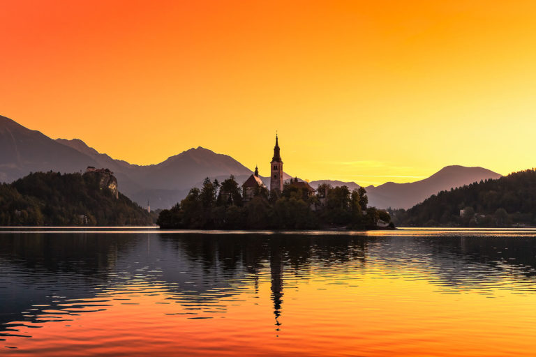 Lake Bled in Slovenia at Sunrise