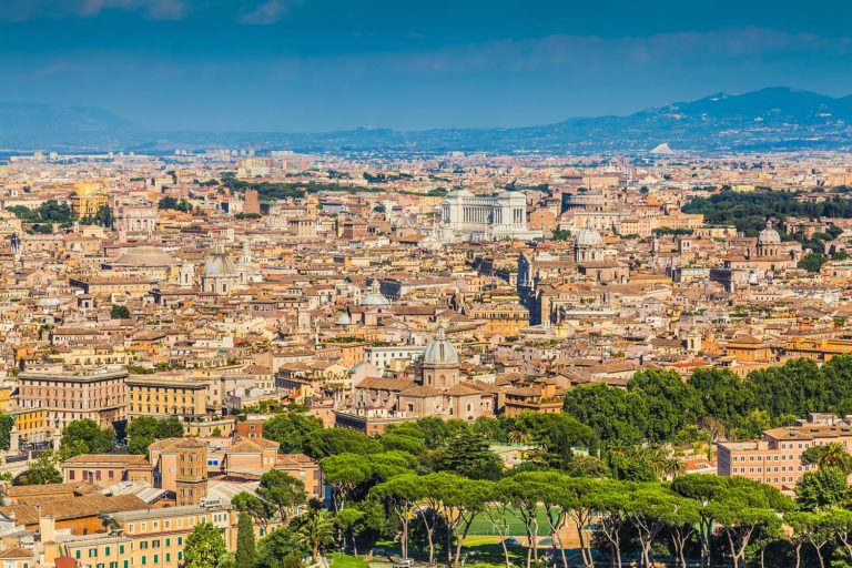 Panorama of Rome, Italy as Seen from the Vatican