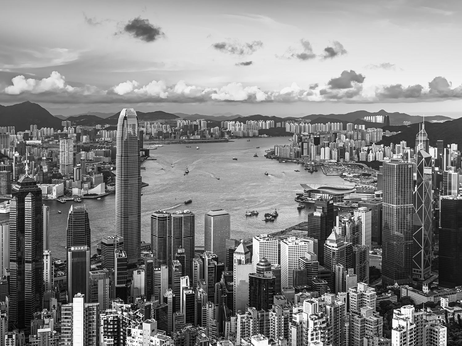 Elevated View of Victoria Harbour in Hong Kong