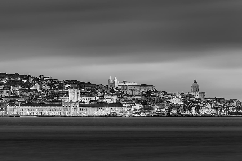 Lisbon, Portugal - The City Skyline at Night